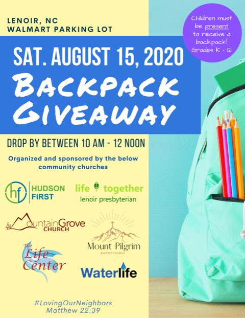 backpack giveaway August 15th 10am-12pm Lenoir Walmart Parking Lot