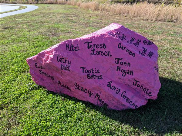Rock painted for Pink Out