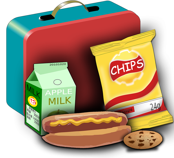 hotdog, chips, cookie, drink, lunchbox