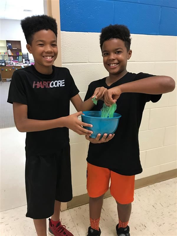 Brown brothers making slime?