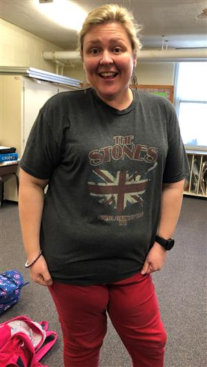 Mrs Banks and her Rolling Stones shirt