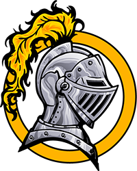 knight helmet in gold circle