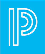 blue box with white letter p