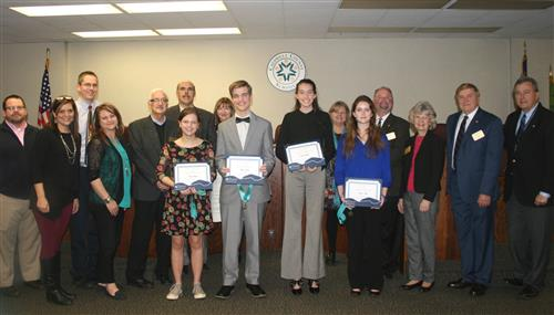 Students recognized by the School Board for BETA Competition Wins