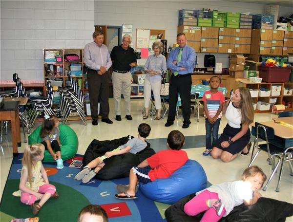 School Board members and Dr. Phipps visit a Rising Stars class at Kings Creek School