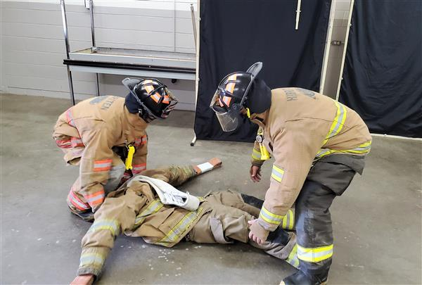 South Caldwell students train in the Firefighting lab (CTE course)