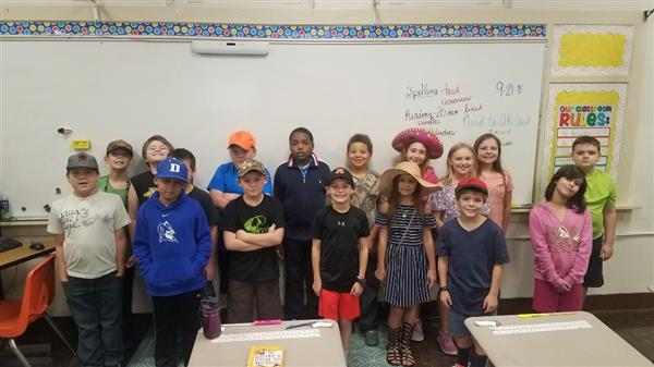 4th Graders in Brooke Parker's class participate in the schoolwide Hat Day to raise funds.