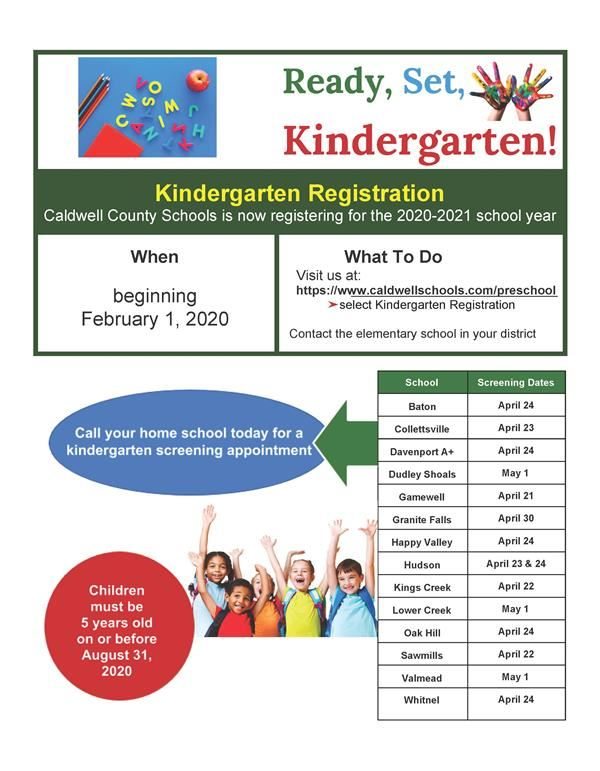 We welcome you to Register for Kindergarten!