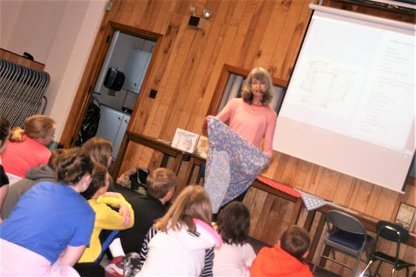 Julia Ebel, Little Read author, presents to students at Sawmills Elementary.