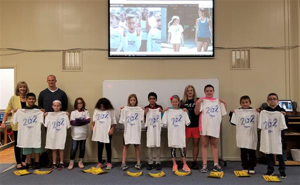 The first 10 West Lenoir Elementary students who earned a marathon t-shirt.