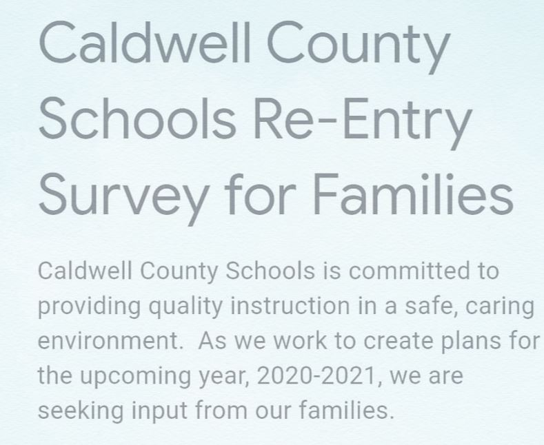 Caldwell County Schools Re-entry Survey for Families - Take the Survey