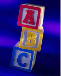 ABC learning blocks stacked.