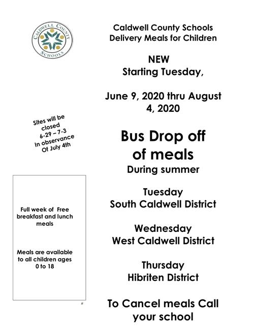 Feeding Program Bus Drop Off Flyer